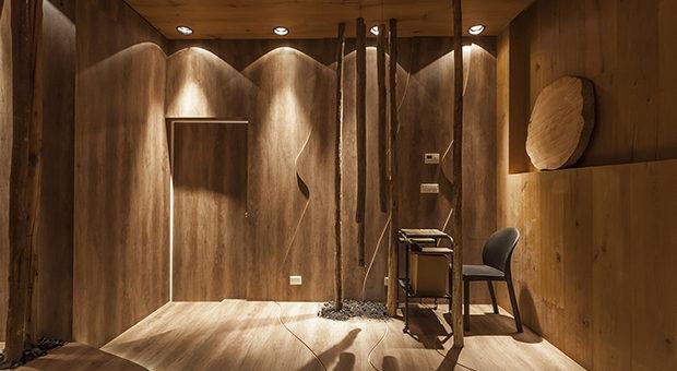 """""""AUDITORIO"""" de Interiores BAP (medalla de plata).  Atmósfera de bosque, representa a la madera en todas sus variantes."""